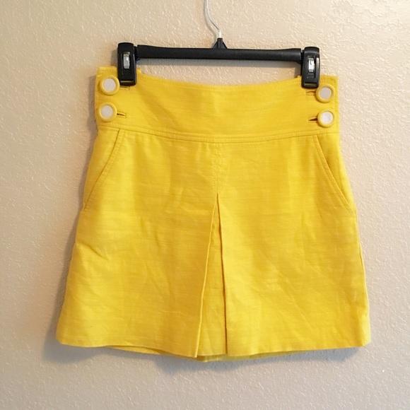 J Crew Yellow Linen Skirt Pockets Sz 0
